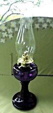 🌟ANTIQUE  PEDESTAL  PURPLE KEROSENE OIL LAMP & BURNER 9 1/2 X 5