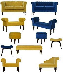 AF Range : 2 Seater Chesterfield Cotton Velvet Sofa : Bench Stool : Mustard Blue