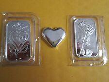 3 x 1 oz  .999 Fine silver  love heart bullion  Bars