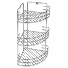 Bath Shower Bathroom Kitchen Corner Wall Mount Metal Storage Rack 3 Shelf Caddy