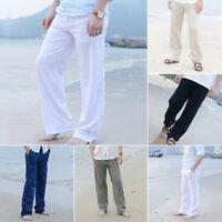 News Mens Linen Loose Pants Beach Drawstring Yoga Casual Long Slacks Trousers
