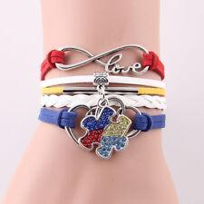 Autism Jewelry Infinity For Women Men Bangles Puzzle Piece Rhinestone Bracelet