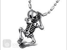 Skull Skeleton Stainless Steel Pendant Necklace Chain Unisex Men's - USA Seller