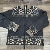 Womens Pendleton Large Open Front Cardigan Full Zip Grey Tan Aztec Print
