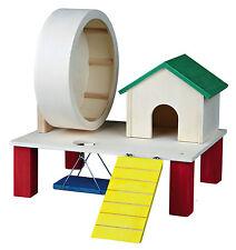 Colorido de roedores jugar suelo con la casa, rueda de ejercicio, Columpio & Rampa