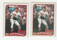 ROB MURPHY 1989 Topps #446 Error/Variation Light/Dark Banner Reds 2 Versions