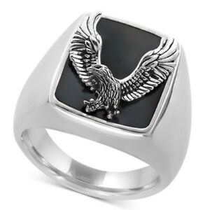 Mens womens fashion Silver signet eagle ring band wedding gift engagement R147
