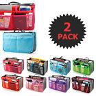 2 X Large Purse Organizer Insert Pack Women Travel Set Handbag Liner Tidy Dual