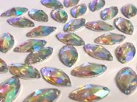 CraftbuddyUS50pc 9x15mm SewOn Clear Diamond Acryl Diamnte Rhinestone Crystal Gem