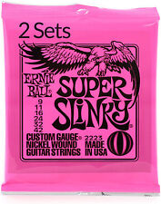2 x PACKS sets ERNIE BALL SUPER SLINKY ELECTRIC GUITAR STRINGS 09 - 42