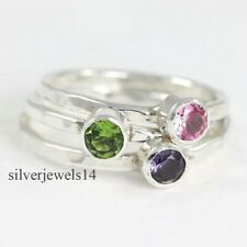 Peridot Rose Quartz Amethyst Solid 925 Sterling Silver Band Ring Jewelry sz726