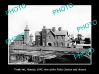 OLD POSTCARD SIZE PHOTO OF NORTHCOTE VICTORIA VIEW OF THE POLICE STATION 1895