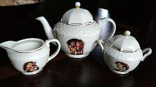 "Mj Hummel Tea Set ""Stormy Weather"" 5pc Porcelain Pot, Sugar Bowl, & Creamer"