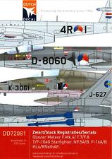 Dutch Decals 1/72 DUTCH BLACK SERIAL NUMBERS Netherlands Air Force