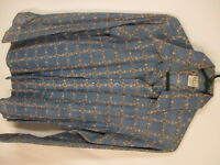 Lord Clayton Vtg 70s Mens Blue Deco Long Sleeve Sheer Disco Slim Fit Shirt M