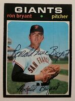 1971 Ron Bryant RARE Vintage Signed Topps Card #621 - Full Name AUTO w/ notation