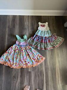 MATILDA JANE Lot of 2 Dresses - 1 Platinum  - Bright Floral Gingham SIZE 6 EUC
