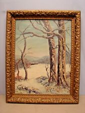 Mid Century Oil Painting of a Winter Scene by Alice Sturgeon Noted PA Artist