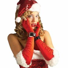 Womens Christmas Gloves Adult Mrs Santa Outfit Costume Fancy Dress