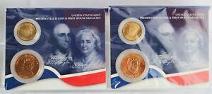 2- 2007 Washington Presidential $1 Coin & First Spouse Medal Sets Washington