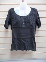 LADIES TOP BLACK SIZE 12 EMBROIDERED DETAIL BNWOT