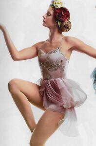 """NIP """"Summer Fantasy"""" Rose Pink Gold Bustle Back Ballet Lyrical Dance Costume CME"""