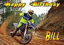 DIRT BIKE Motorbike race motorcycle Happy Birthday Greetings Card PERSONALISED