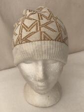 **Sz: OS Women's Michael Kors Metallic Logo Fold-over Cuff Beanie Cream/Gold