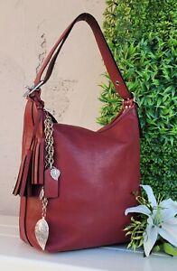 Coach 19889 crimson red llegacy hobo purse duffle shoulder bag crossbody bucket