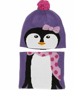 NWT Columbia Kids' Toddler Snow More Hat and Gaiter Set Penguin purple Nice