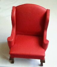 NEW Vintage Dollhouse Miniature UPHOLSTERED RED WING CHAIR B. Shackman #3478