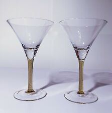 MARTINI GLASS SET OF 2 WITH YELLOW ACCENTED HANDLE