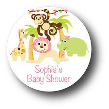 30 Jungle Animals Safari Baby Girl Shower Favor Stickers