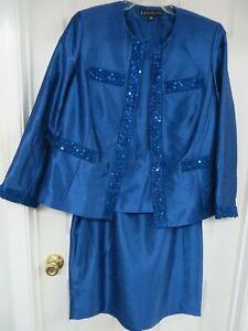 Nippon Boutique  Woman Textured Sequinn 3-piece Skirt suit Blue 14W  EXCELLENT!!
