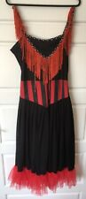 Red Black Burlesque Dress Costume Moulin Rouge Can Can Saloon Diva Size 10-12