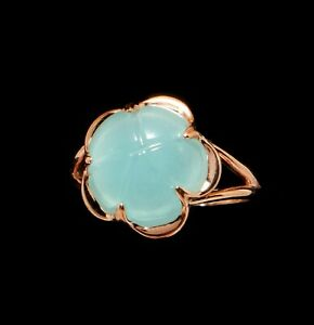 14k Rose Gold Fill Blue Flower Ring 7N Molded Jewelry Glass Russian 15mm diam