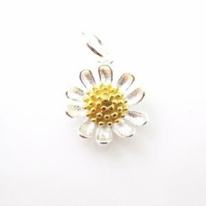 Sunflower Charm-Sterling Silver Sunflower Charm- Two-Tone Charm-Flower Pendant