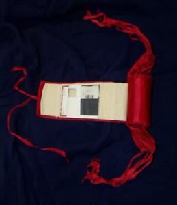 ANTIQUE VTG VICTORIAN RED SATIN RIBBON HAND MADE TRAVEL NEEDLE SEWING KIT CASE
