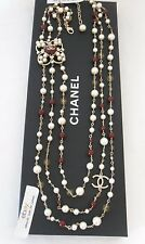 $3925+ CHANEL 3 Strands Pearls Gripoix Stones Beads Runway Pearl Necklace NWT