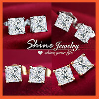 18K GOLD GF SQUARE CT SIMULATED DIAMOND MENS WOMENS GIRL KID SOLID STUD EARRINGS