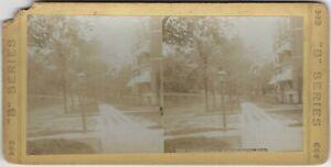 Lafayette Avenue Detroit Michigan Houses & Sidewalk Scene Vintage Stereoview
