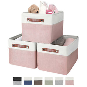 Large Collapsible Storage Basket Bin Rectangular Fabric for Shelves with Handles