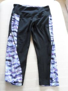 FAB  WOMENS CYNTHIA ROWLEY  BLACK PATTERNED  SPORT CROPPED LEGGINGS SIZE SMALL