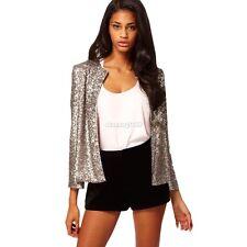 Donna cappotto sottile rivestimento della giacca con paillettes vestito Outwear