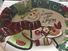 "Fitz and Floyd Snowman Christmas Cookie Platter ""Season for Sharing"" NIP"
