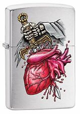 Zippo Windproof Goth Lighter With A Dagger Thru The Heart, 29406, New In Box