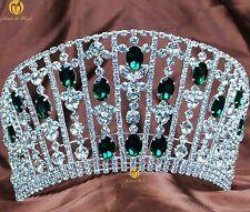 Beauty Pageant Tiara Handmade Crown Green Crystal Headband Bridal Party Costumes