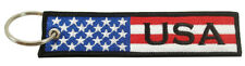 USA Flag Key Chain 100% Embroidered - United States of America, Patriotic