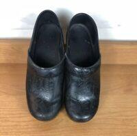DANSKO Patent Leather Black Silver Scribble Swirls Clogs Sz 37 US 6.5-7 GUC