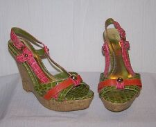 BAMBOO Pink Green Slingback Wedge 6 1/2 6.5 M Women's Heels Shoes SH19 *NEW